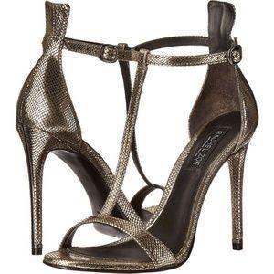 Rachel Zoe Tee T-Strap Sandals Metallic